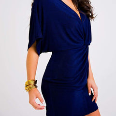 Navy Twist Front Dress
