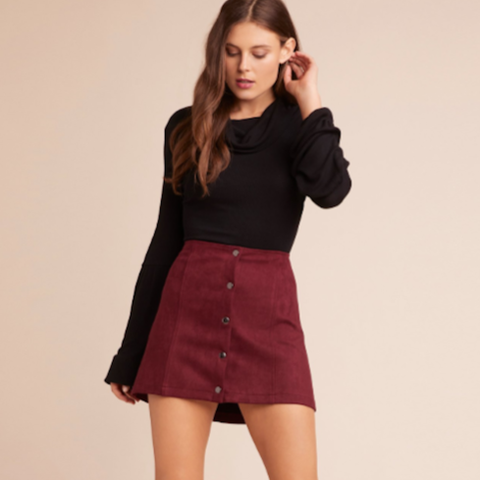 Can't Buy Me Love Cranberry Skirt