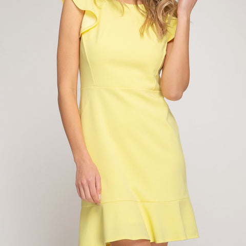 Sunshine Yellow Ruffle Dress