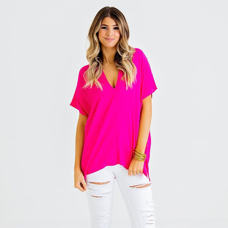 Hottie in Pink V-Neck Tunic