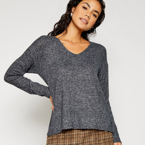 Charcoal Knot Knit Top