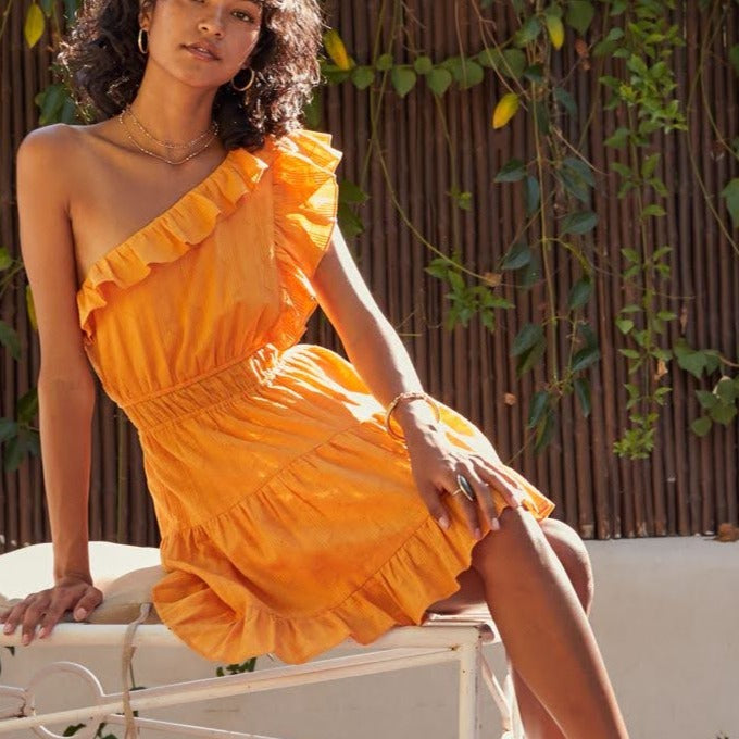 Orange Field One Shoulder Dress