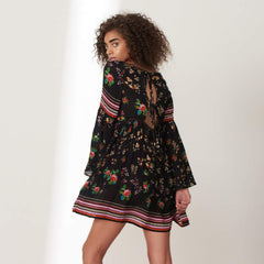 Black Neon Floral Print Dress from Patrons of Peace at Charm Boutique