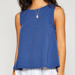 Sofia Navy Ribbed Tank