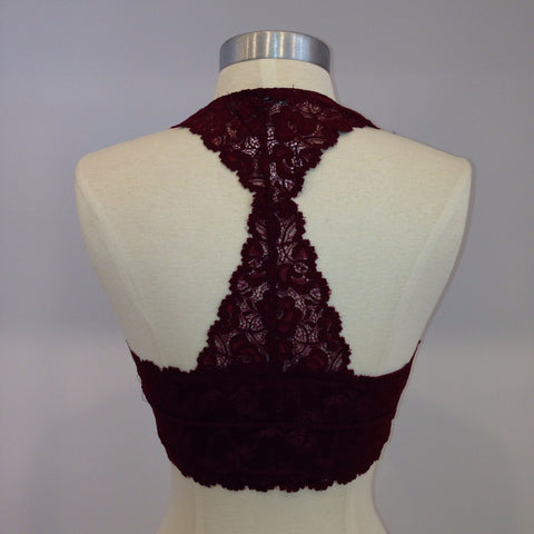 Lace Racer Back Bra - Burgandy