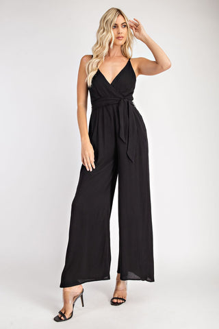 Black Surplice Jumpsuit