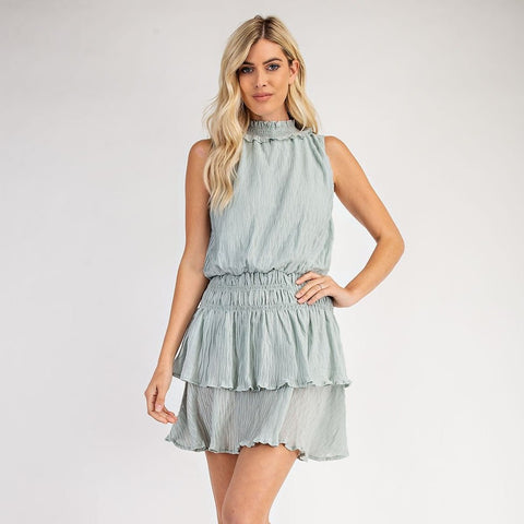 Mint Smocked Neck Dress