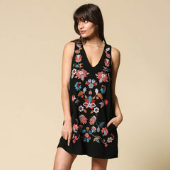 Floral Embroidered Black Dress