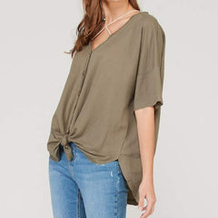 Olive Button Down T-Shirt