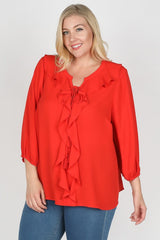 Poppy Red Ruffle Blouse