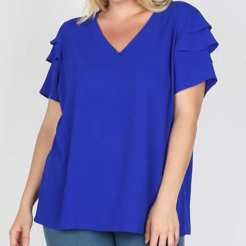 Sparkling Blue Ruffle Sleeve Blouse