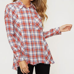 Rust Plaid Snap Side Top