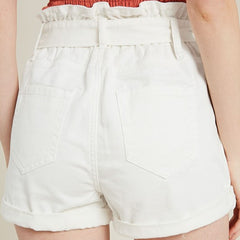 Belted Paper Bag Denim Shortrs