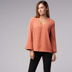 Classic V-Neck Blouse from Blues & Grey's at Charm Boutique in Gulf Shores