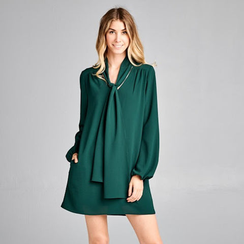 Hunter Green Bow Tie Dress