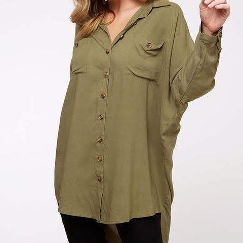 Olive Button Tunic