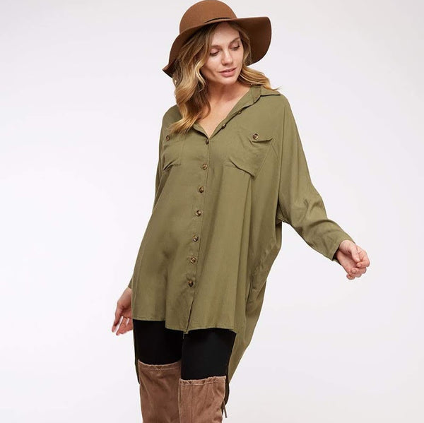 Olive Button Tunic from Vine & Love at Charm Boutique in Gulf Shores