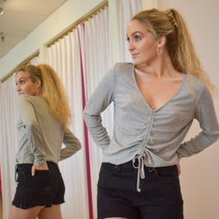 Shirred Center Grey Top