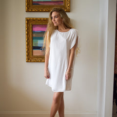 White Satin Shift Dress