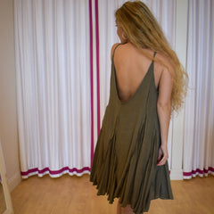 Olive Raw Swing Dress