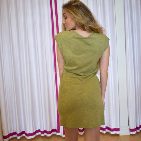 Olive Cotton Tie Dress