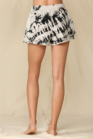 Grey & Black Tie Dye Lounge Shorts