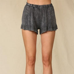 Charcoal Ruffle Lounge Shorts
