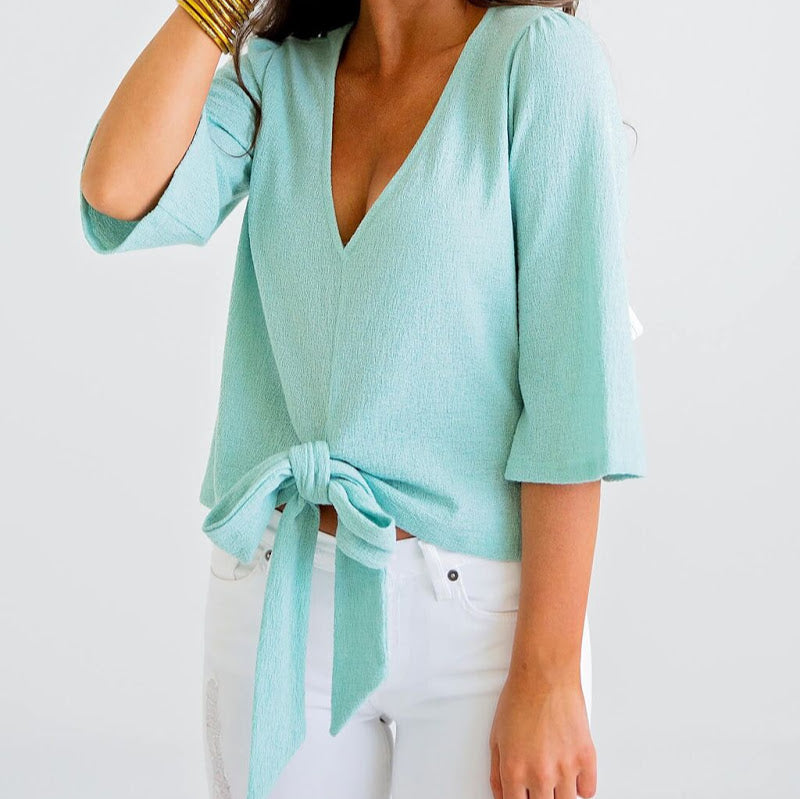 Mint Gauze V-Neck