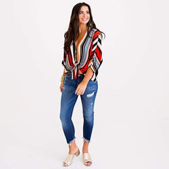 Candy Stripe V-Neck Blouse