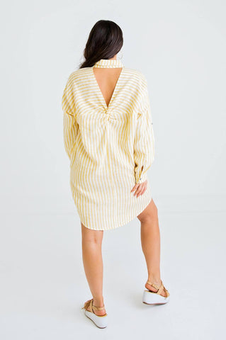 Stripe Cut Out Shirt Dress