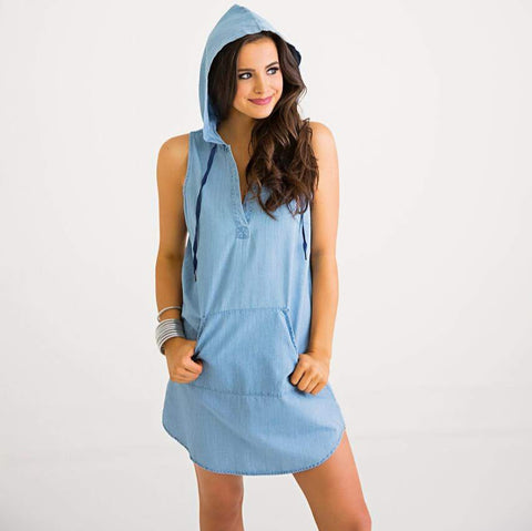 Chambray Hoodie Dress