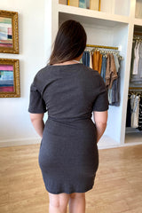 Grey Twist Front Knit Dress