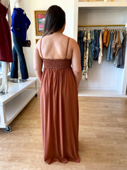 Rust Crochet Maxi Dress