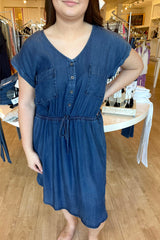 Washed Denim Button Down Dress