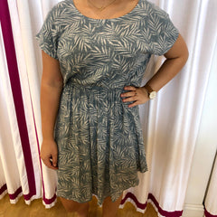 Washed Rayon Leaf Print Dress