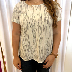 Ivory Print Short Sleeve Top