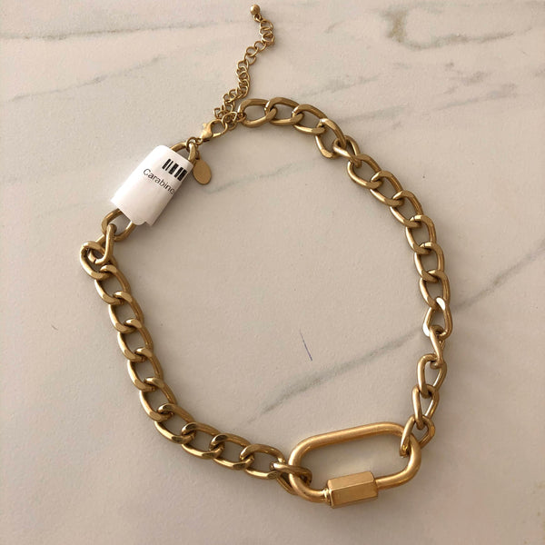 Carabiner Curb Chain Necklace