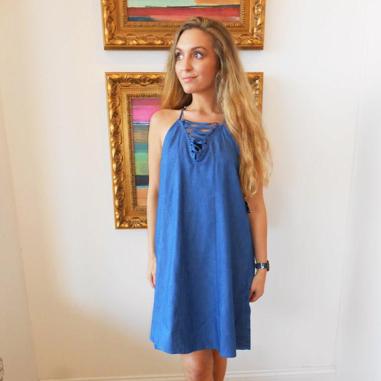 Denim Lace Up Dress by Angie at Charm Boutique in Gulf Shores, Alabama