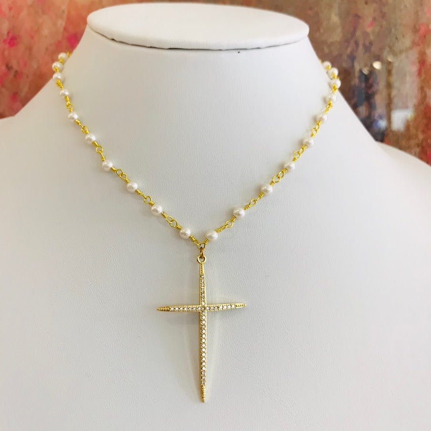 Cross My Heart Pearl Necklace