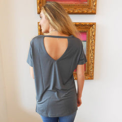 Charcoal Tee With Key Hole Back by Wishlist at Charm Boutique in Gulf Shores, Alabama