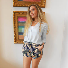 Gold Foil Palm Print Shorts by Angie at Charm Boutique in Gulf Shores, Alabama