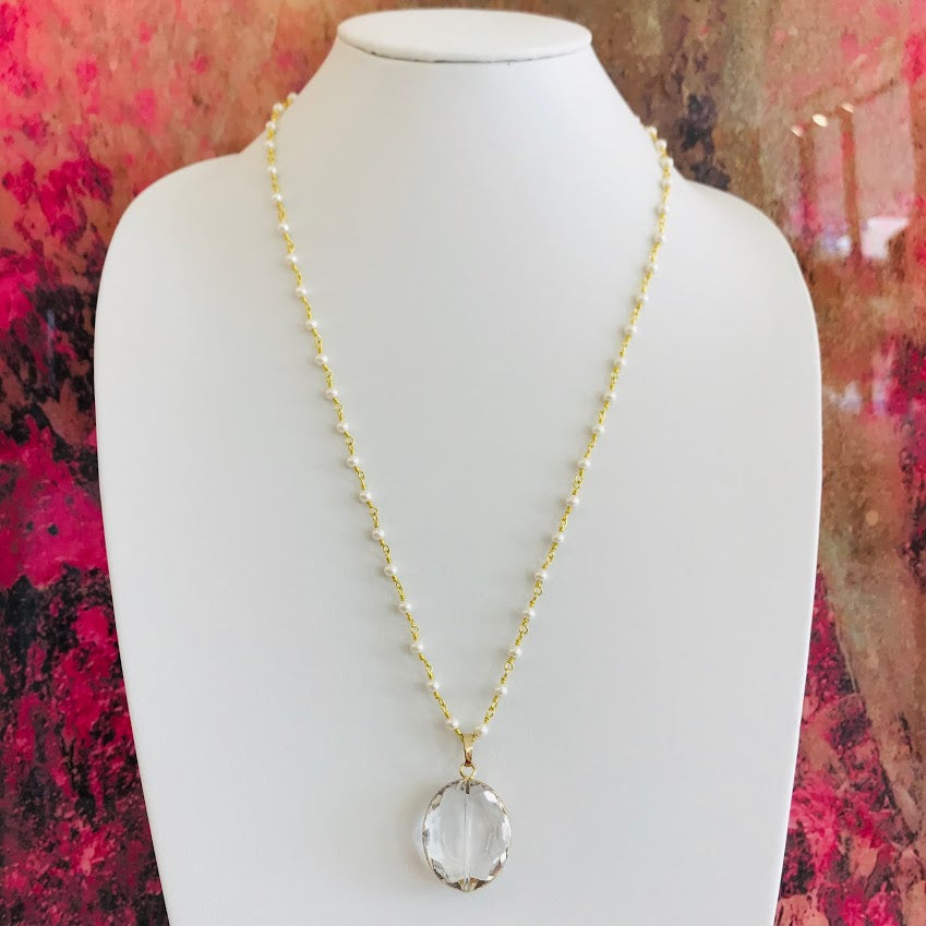 Clear Kali & Pearl Necklace