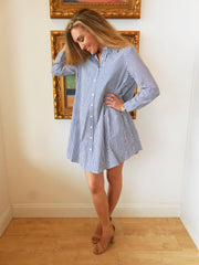 Olsen Sailor Blue Stripe Shirt Dress by BB Dakota at Charm Boutique