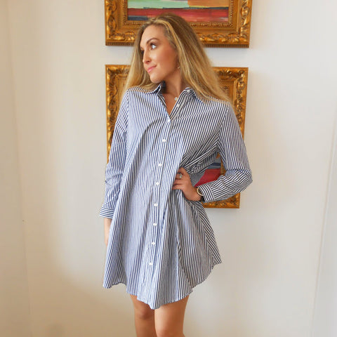 Olsen Sailor Blue Strip Shirt Dress