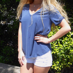 Yoga Navy Tee is by Sadie & Sage at Charm Boutique in Gulf Shores, Alabama