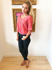 Tie Me Tighter Coral Blouse