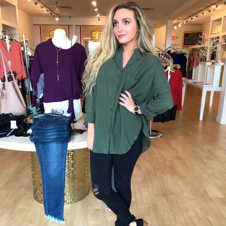 Into the Woods Olive Blouse from Reset by Jane at Charm Boutique in Gulf Shores