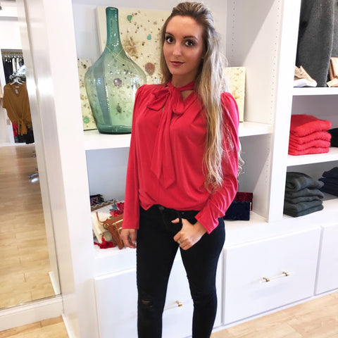 Girl Boss in Red Tie Blouse