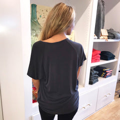 Shoulder Twist Black Tee from COA at Charm Boutique in Gulf Shores