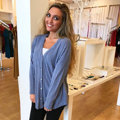 Anna Knit Blue Top from Sadie and Sage at Charm Boutique in Gulf Shores